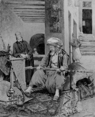 Alfred Jacomin (French, 1842-1913). <em>Moorish Scene</em>, n.d. Oil on panel, 18 1/8 x 14 3/4 in. (46 x 37.5 cm). Brooklyn Museum, Gift of Mr. and Mrs. Hollis K. Thayer, 81.39.1 (Photo: Brooklyn Museum, 81.39.1_bw.jpg)