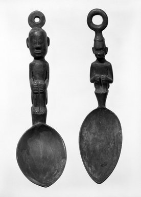 <em>Spoon</em>. Wood, L: 9 1/4 in. (23.5 cm). Brooklyn Museum, Gift of Mrs. William R. Maris, 81.45.2. Creative Commons-BY (Photo: , 81.45.2_81.45.3_bw.jpg)