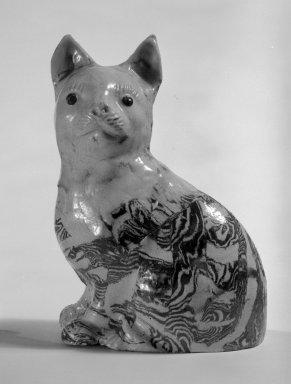 <em>Figure of a Cat</em>, ca. 1745. Salt-glazed stoneware, 5 1/4 x 3 3/4 x 2 1/2 in. (13.3 x 9.5 x 6.4 cm). Brooklyn Museum, Bequest of Dr. Grace McLean Abbate, 81.53.15. Creative Commons-BY (Photo: Brooklyn Museum, 81.53.15_bw.jpg)