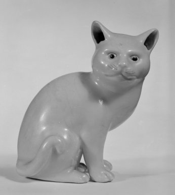 <em>Figure of a Cat</em>, 20th century. Salt-glazed stoneware, 5 1/2 x 5 x 3 1/4 in. (14 x 12.7 x 8.3 cm). Brooklyn Museum, Bequest of Dr. Grace McLean Abbate, 81.53.16. Creative Commons-BY (Photo: Brooklyn Museum, 81.53.16_bw.jpg)