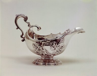 James Shruder. <em>Sauceboat</em>, 1744-1745. Silver, 6 x 4 3/4 x 8 3/4 in. (15.2 x 12.1 x 22.2 cm). Brooklyn Museum, Bequest of Donald S. Morrison, 81.54.14. Creative Commons-BY (Photo: Brooklyn Museum, 81.54.14_SL4.jpg)