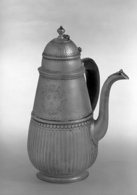 Samuel Thorne. <em>Chocolate Pot</em>. Silver, 10 × 7 × 6 1/2 in. (25.4 × 17.8 × 16.5 cm). Brooklyn Museum, Bequest of Donald S. Morrison, 81.54.28. Creative Commons-BY (Photo: Brooklyn Museum, 81.54.28_acetate_bw.jpg)