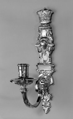 Paul de Lamerie (British, born Netherlands, 1688-1751). <em>Wall Sconce, One of Set</em>, ca. 1720. Silver, 12 5/8 x 2 3/4 x 6 1/2 in. (32.1 x 7 x 16.5 cm). Brooklyn Museum, Bequest of Donald S. Morrison, 81.54.33. Creative Commons-BY (Photo: Brooklyn Museum, 81.54.33a-b_bw.jpg)