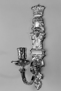 Paul de Lamerie (British, born Netherlands, 1688-1751). <em>Wall Sconce, One of Set</em>, ca. 1720. Silver, 12 5/8 x 2 3/4 x 6 1/2 in. (32.1 x 7 x 16.5 cm). Brooklyn Museum, Bequest of Donald S. Morrison, 81.54.34. Creative Commons-BY (Photo: Brooklyn Museum, 81.54.34a-b_bw.jpg)