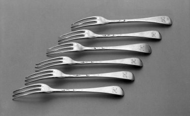 Paul de Lamerie (British, born Netherlands, 1688-1751). <em>Fork, One of Set</em>, 1711-1712. Silver, 3/4 x 3/4 x 6 1/2 in. (1.9 x 1.9 x 16.5 cm). Brooklyn Museum, Bequest of Donald S. Morrison, 81.54.37. Creative Commons-BY (Photo: , 81.54.37_81.54.38_81.54.39_81.54.40_81.54.41_81.54.42_acetate_bw.jpg)