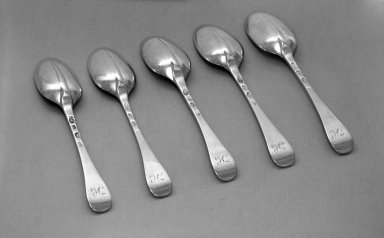 Paul de Lamerie (British, born Netherlands, 1688-1751). <em>Spoon, One of Set</em>, ca. 1711-12. Silver, 3/4 x 1 3/8 x 6 7/8 in. (1.9 x 3.5 x 17.5 cm). Brooklyn Museum, Bequest of Donald S. Morrison, 81.54.47. Creative Commons-BY (Photo: , 81.54.43_81.54.44_81.54.45_81.54.46_81.54.47_acetate_bw.jpg)