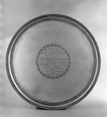 Daniel Smith. <em>Circular Tray</em>. Silver Brooklyn Museum, Bequest of Donald S. Morrison, 81.54.6. Creative Commons-BY (Photo: Brooklyn Museum, 81.54.6_acetate_bw.jpg)