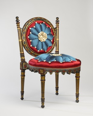 <em>Side Chair</em>, ca. 1868. Beech, pigment, modern upholstery, 29 x 18 1/4 x 18 1/4 in. (73.7 x 46.4 x 46.4 cm). Brooklyn Museum, H. Randolph Lever Fund, 81.56.2. Creative Commons-BY (Photo: Brooklyn Museum, 81.56.2_threequarter_PS9.jpg)