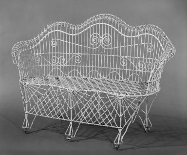 Buffalo Wire Works Company. <em>Settee</em>, 1880-1910. Wire, 35 1/2 x 54 x 22 in. (90.2 x 137.2 x 55.9 cm). Brooklyn Museum, H. Randolph Lever Fund, 81.57. Creative Commons-BY (Photo: Brooklyn Museum, 81.57_bw.jpg)