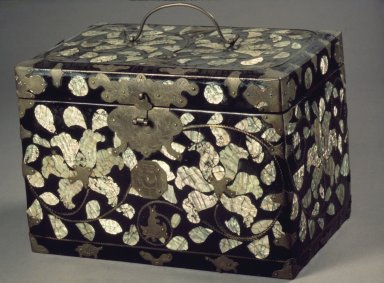 <em>Lacquer Box</em>, late 19th-early 20th century. Black lacquer and mother-of-pearl over hemp cloth on wood, brass fitting, 7 3/16 x 10 7/16 x 6 3/4 in. (18.3 x 26.5 x 17.2 cm). Brooklyn Museum, Gift of Karel Wiest, 81.59. Creative Commons-BY (Photo: Brooklyn Museum, 81.59.jpg)
