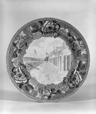 Josiah Wedgwood & Sons Ltd. (founded 1759). <em>Plate</em>, ca. 1933. Earthenware, underglaze, 3/4 x 9 1/8 x 9 1/8 in. (1.9 x 23.2 x 23.2 cm). Brooklyn Museum, Gift of Dr. and Mrs. George Liberman, 81.6.2. Creative Commons-BY (Photo: Brooklyn Museum, 81.6.2_bw.jpg)