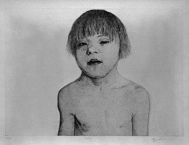 Kay Bradner (American, born 1947). <em>Duffy</em>, 1978. Etching on paper, 14 9/16 x 20 1/2 in. (37 x 52 cm). Brooklyn Museum, Gift of the artist, 81.68.1. © artist or artist's estate (Photo: Brooklyn Museum, 81.68.1_bw.jpg)