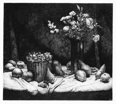 Stan Washburn (American, born 1943). <em>The Black Vase</em>, 1978. Etching on paper, sheet: 21 x 24 in. (53.3 x 61 cm). Brooklyn Museum, Gift of Stan Washburn, 81.79.26. © artist or artist's estate (Photo: Brooklyn Museum, 81.79.26_bw.jpg)