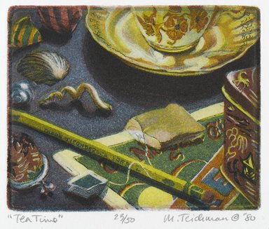 Mary Teichman (American, born 1954). <em>Tea Time</em>, 1980. Etching and aquatint on paper, sheet: 12 1/4 x 10 7/8 in. (31.1 x 27.6 cm). Brooklyn Museum, Designated Purchase Fund, 81.80.1. © artist or artist's estate (Photo: Brooklyn Museum, 81.80.1_PS2.jpg)
