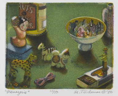 Mary Teichman (American, born 1954). <em>Menagerie</em>, 1980. Etching and aquatint on paper, sheet: 12 1/4 x 11 in. (31.1 x 27.9 cm). Brooklyn Museum, Designated Purchase Fund, 81.80.2. © artist or artist's estate (Photo: Brooklyn Museum, 81.80.2_PS2.jpg)