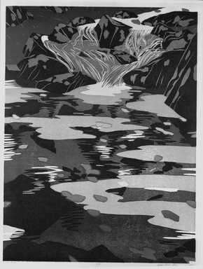 Deng Ming-Dao (American, born 1954). <em>Little River</em>, 1980. Woodcut, Sheet: 29 1/8 x 22 3/16 in. (73.9 x 56.3 cm). Brooklyn Museum, Frank L. Babbott Fund, 81.97.2. © artist or artist's estate (Photo: Brooklyn Museum, 81.97.2_bw.jpg)