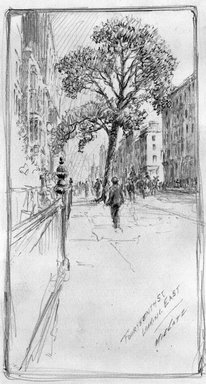 Charles F. W. Mielatz (American, born Germany 1864-1919). <em>14th Street - Looking East</em>, n.d. Graphite on paper, Sheet: 12 9/16 x 9 1/2 in. (31.9 x 24.1 cm). Brooklyn Museum, Frank L. Babbott Fund, 81.98.7 (Photo: Brooklyn Museum, 81.98.7_bw.jpg)