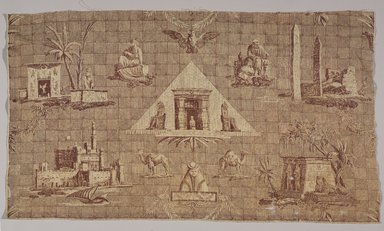 Jean-Baptiste Huet (French, 1745-1811). <em>Les Monuments d'Egypte</em>, ca. 1808. Printed cotton toile, 38 x 21 3/4 in. (96.5 x 55.2 cm). Brooklyn Museum, Gift of Elinor Merrell, 82.106.10 (Photo: Brooklyn Museum, 82.106.10_PS9.jpg)