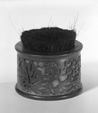 Tiffany Studios (1902-1932). <em>Pen-tip Cleaner</em>. Bronze, glass, and hair bristle Brooklyn Museum, Gift of Fred Tannery, 82.112.9. Creative Commons-BY (Photo: Brooklyn Museum, 82.112.9_bw.jpg)