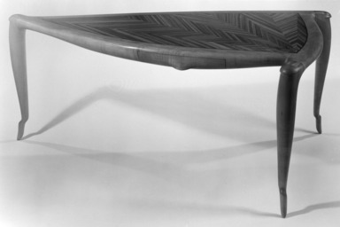 Wendell Castle (American, 1932-2018). <em>Desk</em>, 1977. Maple, zebrawood, walnut, 29 x 64 x 40 in. (73.7 x 162.6 x 101.6 cm). Brooklyn Museum, This acquisition was made possible through the Louis Comfort Tiffany Foundation, 82.113. Creative Commons-BY (Photo: Brooklyn Museum, 82.113_bw.jpg)