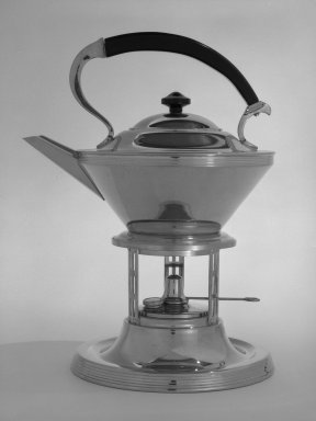 Manning Bowman and Co. (1857-present). <em>Tea Kettle on Stand</em>, ca. 1935. Chromed metal (possibly brass), wood, 12 x 9 x 7 1/2 in. (30.5 x 22.9 x 19.1 cm). Brooklyn Museum, Robert B. Woodward Memorial Fund, gift of Emma Engdahl Swanson and Designated Purchase Fund, 82.114a-g. Creative Commons-BY (Photo: Brooklyn Museum, 82.114a-g_bw.jpg)