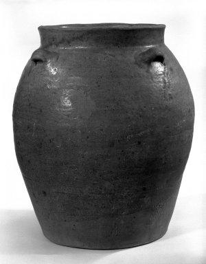 <em>Storage Jar</em>, 8th-10th century. Stoneware, 13 1/2 x 11 1/2 in. (34.3 x 29.2 cm). Brooklyn Museum, Gift of Dr. Andrew Dahl, 82.118.2. Creative Commons-BY (Photo: Brooklyn Museum, 82.118.2_bw.jpg)