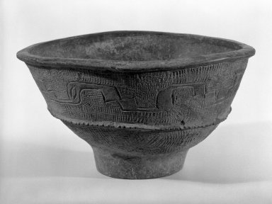 <em>Bowl</em>, ca. 4000 B.C. Pottery Brooklyn Museum, Gift of Dr. and Mrs. Eugene Halpert, 82.120.1. Creative Commons-BY (Photo: Brooklyn Museum, 82.120.1_bw.jpg)