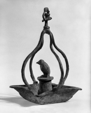 <em>Oil Lamp</em>. Bronze, 6 5/16 x 3 15/16 in. (16 x 10 cm). Brooklyn Museum, Gift of Dr. and Mrs. Eugene Halpert, 82.120.9. Creative Commons-BY (Photo: Brooklyn Museum, 82.120.9_bw.jpg)