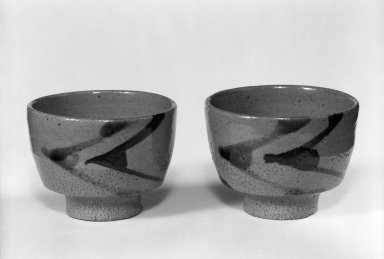 Hamada Shoji (Japanese, 1894-1978). <em>Cup for Green Tea</em>, ca. 1960. Stoneware, 2 3/4 x 3 3/4 in. (7 x 9.5 cm). Brooklyn Museum, Gift of Dr. Hugo Munsterberg, 82.126.3. Creative Commons-BY (Photo: Brooklyn Museum, 82.126.3_82.126.4_bw.jpg)