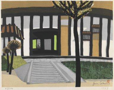 Sekino Junichiro (Japanese, 1914-1988). <em>Japanese Inn</em>, 1958. Color woodblock print on paper, 17 1/2 x 21 1/4 in. (44.5 x 54 cm). Brooklyn Museum, Gift of Robert Sistrunk, 82.129.1. © artist or artist's estate (Photo: Brooklyn Museum, 82.129.1_IMLS_PS3.jpg)