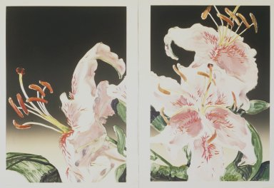 Gary Alan Bukovnik (American, born 1947). <em>Rubrum Lily Diptych</em>, 1982. Monotype on paper, Image (each): 36 5/16 x 32 5/8 in. (92.2 x 82.8 cm). Brooklyn Museum, Gift of the artist, 82.138. © artist or artist's estate (Photo: Brooklyn Museum, 82.138_transpc002.jpg)