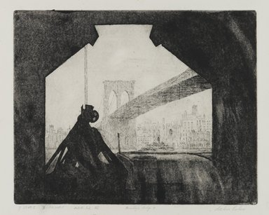 Arthur Cohen (American, 1928-2012). <em>Brooklyn Bridge 7</em>, 1982. Etching with aquatint Brooklyn Museum, Gift of the artist, 82.139.1. © artist or artist's estate (Photo: Brooklyn Museum, 82.139.1_PS1.jpg)