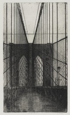 Arthur Cohen (American, 1928-2012). <em>Brooklyn Bridge 9</em>, 1982. Etching with aquatint Brooklyn Museum, Gift of the artist, 82.139.2. © artist or artist's estate (Photo: Brooklyn Museum, 82.139.2_PS1.jpg)