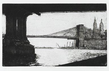 Arthur Cohen (American, 1928-2012). <em>Brooklyn Bridge 1</em>, 1982. Etching with aquatint Brooklyn Museum, Gift of the artist, 82.139.4. © artist or artist's estate (Photo: Brooklyn Museum, 82.139.4_PS1.jpg)