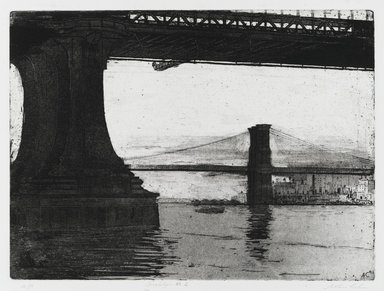 Arthur Cohen (American, 1928-2012). <em>Brooklyn Bridge 2</em>, 1982. Etching with aquatint Brooklyn Museum, Gift of the artist, 82.139.5. © artist or artist's estate (Photo: Brooklyn Museum, 82.139.5_PS1.jpg)
