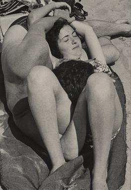 Harry Lapow (American, 1909-1982). <em>Untitled (Beach Couple)</em>, 1978. Gelatin silver photograph, sheet: 14 x 10 15/16 in. (35.6 x 27.8 cm). Brooklyn Museum, Gift of the artist, 82.148.5. © artist or artist's estate (Photo: , 82.148.5_PS9.jpg)