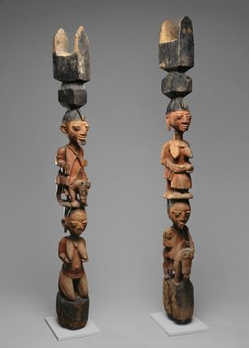 Yorùbá artist. <em>Figural post</em>, late 19th or early 20th century. Wood, pigment, 62 3/4 x 8 1/2 x 6 in. (159.4 x 21.6 x 15.2 cm). Brooklyn Museum, Gift of Allen A. Davis, 82.154.2. Creative Commons-BY (Photo: , 82.154.1_82.154.2_SL1.jpg)