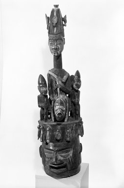 Agunna of Oke Igbira. <em>Epa Ologun Mask with Warrior on Horseback</em>, late 19th or early 20th century. Wood, pigments, H: 45 in. (114.3 cm). Brooklyn Museum, Gift of Dr. and Mrs. Wayne Myers, 82.159. Creative Commons-BY (Photo: Brooklyn Museum, 82.159_bw.jpg)