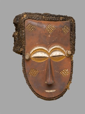 Kuba (Lele subgroup). <em>Mask</em>, late 19th or early 20th century. Wood, pigments, fiber, 13 x 9 1/2 x 8 1/2 in. (33 x 24.1 x 21.6 cm). Brooklyn Museum, Mr. and Mrs. Milton F. Rosenthal, Carll H. de Silver Fund and A. Augustus Healy Fund, 82.160. Creative Commons-BY (Photo: Brooklyn Museum, 82.160_PS1.jpg)