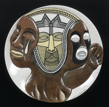 Judy Chicago (American, born 1939). <em>Sojourner Truth test plate #2, from The Dinner Party</em>, ca. 1978. Porcelain, overglaze enamels, copper alloy, and Plexiglas, plate: 1 3/8 × 14 in. diameter (3.5 × 35.6 cm). Brooklyn Museum, Gift of Judy Chicago, 82.165. © artist or artist's estate (Photo: Brooklyn Museum, 82.165_PS1.jpg)