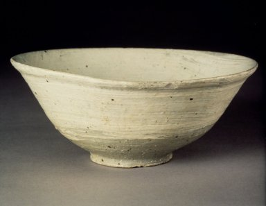 <em>Bowl</em>, last half of 15th-16th century. Buncheong ware, stoneware with underglaze white slip decoration, Height: 2 15/16 in. (7.4 cm). Brooklyn Museum, Gift of Bernice and Robert Dickes, 82.173. Creative Commons-BY (Photo: Brooklyn Museum, 82.173.jpg)