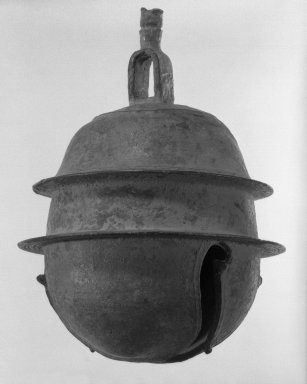 <em>Bell</em>, 11th-12th century. Bronze, 8 x 5 1/2 in. (20.3 x 14 cm). Brooklyn Museum, Gift of Dr. Henry J. Fischer, 82.175.22. Creative Commons-BY (Photo: Brooklyn Museum, 82.175.22_bw.jpg)