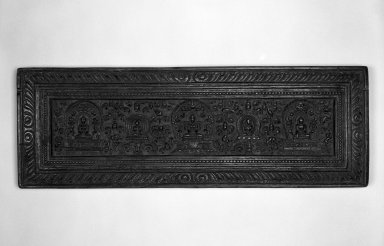 <em>Sutra Cover</em>, ca. 17th-18th century. Carved wood, 9 3/4 x 28 in. (24.8 x 71.1 cm). Brooklyn Museum, Gift of Daniel Glassman, 82.177 (Photo: Brooklyn Museum, 82.177_view1_bw.jpg)