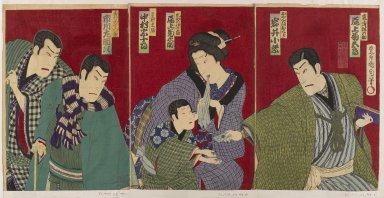 Toyohara Kunichika (Japanese, 1835-1900). <em>Actors Ichikawa Sadanji I, Nakamura Juzaburo, Onoe Kikunosuke, Iwai Komurasaki III, and Onoe Kikugoro V</em>, 1879. Color woodblock print, 14 3/8 x 19 5/8 in. (36.5 x 49.8 cm). Brooklyn Museum, Gift of Dr. Jack Hentel, 82.179.11 (Photo: Brooklyn Museum, 82.179.11_IMLS_PS4.jpg)