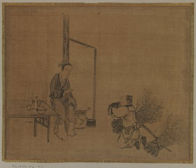 Sessen (Japanese, flourished ca. 1820). <em>Album Leaf Painting: Lady and Woodcutter</em>, 18th century. Album leaf, ink on silk, Image: 9 5/8 x 11 1/2 in. (24.4 x 29.2 cm). Brooklyn Museum, Gift of Dr. Jack Hentel, 82.179.5 (Photo: Brooklyn Museum, 82.179.5_IMLS_PS3.jpg)