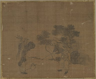 Sessen (Japanese, flourished ca. 1820). <em>Album Leaf Painting: Hunters</em>, 18th century. Album leaf, ink on silk, Image: 9 3/8 x 11 1/2 in. (23.8 x 29.2 cm). Brooklyn Museum, Gift of Dr. Jack Hentel, 82.179.7 (Photo: Brooklyn Museum, 82.179.7_IMLS_PS3.jpg)