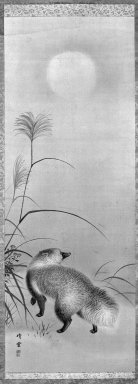 Sessen (Japanese, flourished ca. 1820). <em>Hanging Scroll: Badger</em>, late 19th century. Hanging scroll, ink and light color on silk, 38 x 13 in. (96.5 x 33 cm). Brooklyn Museum, Gift of Dr. Jack Hentel, 82.179.9 (Photo: Brooklyn Museum, 82.179.9_bw_IMLS.jpg)