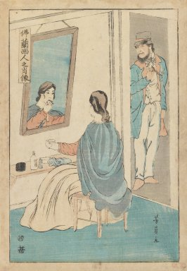 Utagawa Yoshikazu (Japanese, active c. 1850-1870). <em>Portrait of the French</em>, 1861. Color woodblock print on paper, 14 1/4 x 9 1/4 in. (36.2 x 23.5 cm). Brooklyn Museum, Gift of Mr. and Mrs. Peter P. Pessutti, 82.186.1 (Photo: Brooklyn Museum, 82.186.1_IMLS_PS3.jpg)