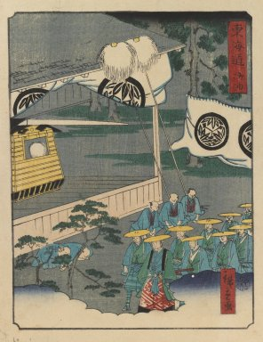 Utagawa Hiroshige II (Japanese, 1826-1869). <em>Goyu, from the series The Tōkaidō Road</em>, 1863-1864. Color woodblock print on paper, 10 x 7 3/8 in. (25.4 x 18.7 cm). Brooklyn Museum, Gift of Mr. and Mrs. Peter P. Pessutti, 82.186.5 (Photo: Brooklyn Museum, 82.186.5_IMLS_PS3.jpg)