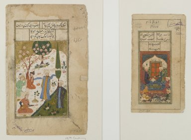 <em>Folio from an Unidentified Manuscript:  Miniature Painting</em>, 17th century. Opaque watercolors on paper, Overall: 5 11/16 x 3 1/16 in. (14.4 x 7.8 cm). Brooklyn Museum, Gift of Mr. and Mrs. Peter P. Pessutti, 82.186.8 (Photo: Brooklyn Museum, 82.186.7_82.186.8_IMLS_PS4.jpg)